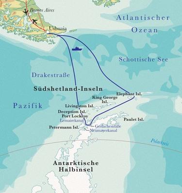 Route Rundreise Antarktis, 17 oder 18 Tage