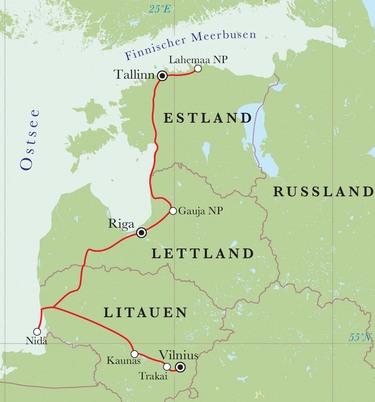 Route Rundreise Baltikum, 11 Tage