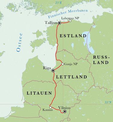 Route Rundreise Baltikum, 10 Tage