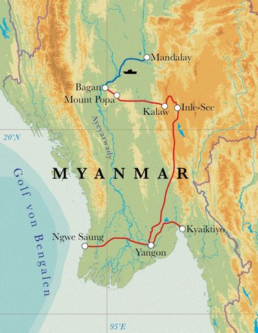 Route Rundreise Myanmar, 17 Tage