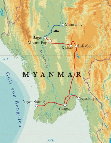 Route Rundreise Myanmar, 21 Tage