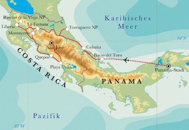 Route Rundreise Costa Rica & Panama, 21 & 22 Tage