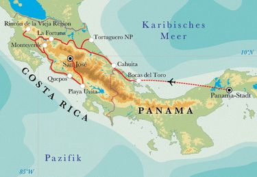 Route Rundreise Costa Rica & Panama, 22 Tage