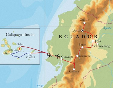Route Rundreise Ecuador, 16 Tage