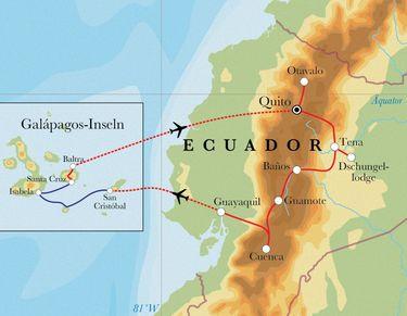 Route Rundreise Ecuador & Galápagos, 22 Tage
