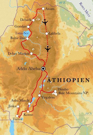 Route Rundreise Äthiopien, 22 Tage