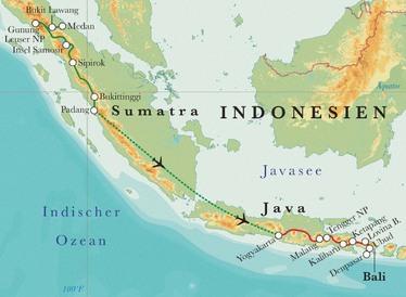 Route Rundreise Indonesien: Sumatra, Java & Bali, 24 Tage