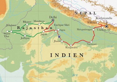 Route Rundreise Nordindien & Nepal, 23 Tage