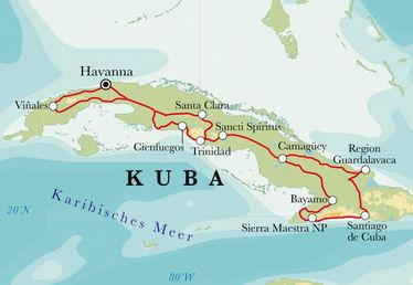 Route Rundreise Kuba, 20 Tage