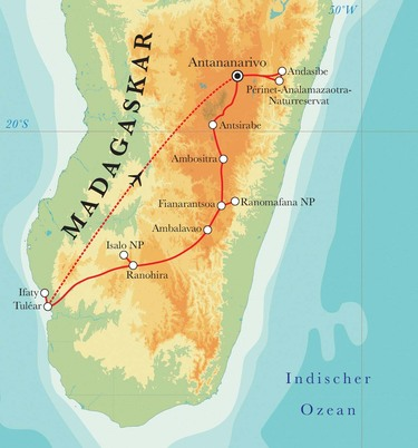 Route Rundreise Madagaskar, 22 Tage