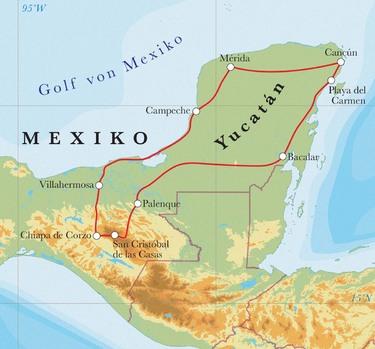 Route Rundreise Mexiko, 16 Tage