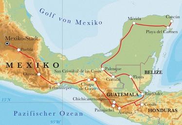 Route Rundreise Mexiko & Guatemala mit Honduras, 24 Tage