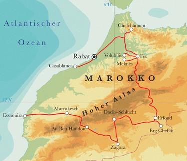 Route Rundreise Marokko, 20 Tage