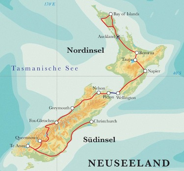 Route Rundreise Neuseeland, 25 Tage