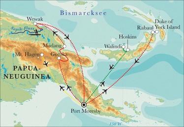 Route Rundreise Papua-Neuguinea, 21 Tage