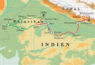 Route Rundreise Rajasthan, Nordindien & Nepal, 30 Tage