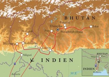 Route Rundreise Bhutan & Sikkim, 21 Tage