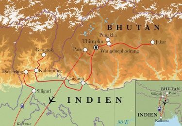 Route Rundreise Bhutan & Sikkim, 20 Tage