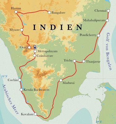 Route Rundreise Südindien, 22 Tage