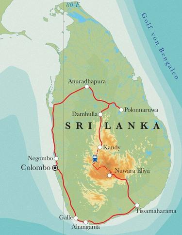 Route Rundreise Sri Lanka, 15 Tage
