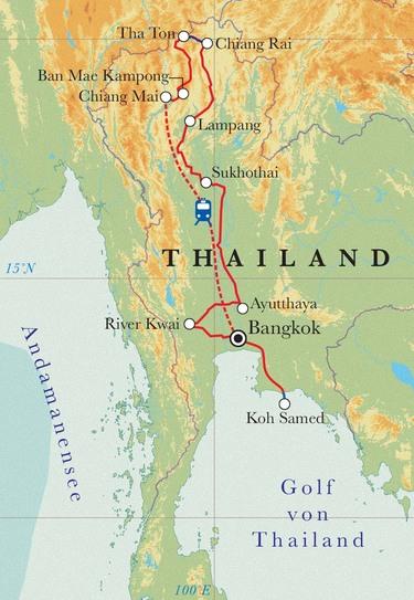 Route Rundreise Thailand, 20 Tage