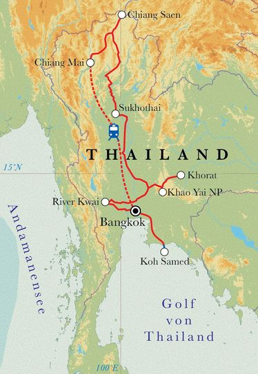 Route Rundreise Thailand, 21 Tage