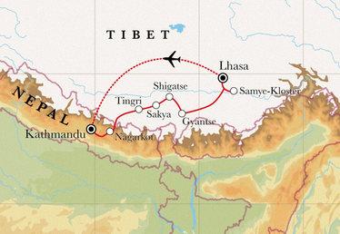 Route Rundreise Tibet & Nepal, 20 Tage