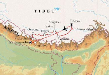 Route Rundreise Tibet & Nepal, 21 Tage