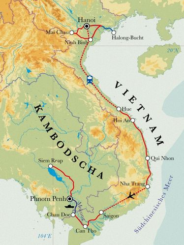 Route Rundreise Vietnam & Kambodscha, 27 Tage