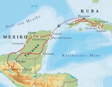 Route Rundreise Kuba & Yucatán, 22 Tage
