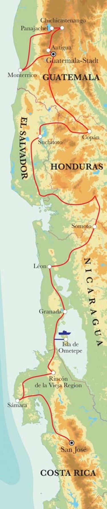 Route Rundreise Von Guatemala-Stadt nach San José, 22 Tage