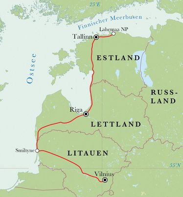 Route Baltikum, 9 Tage Fahrradreise