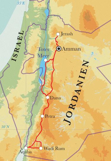 Route Rundreise Jordanien, 10 Tage
