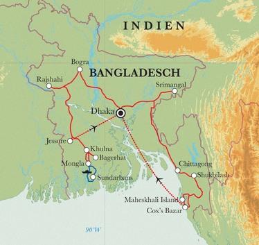 Route Rundreise Bangladesch, 19 Tage
