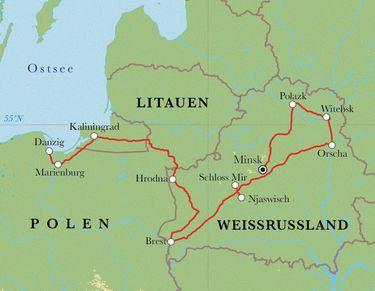 Route Rundreise Weißrussland, Kaliningrad & Polen, 12 Tage