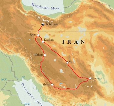 Route Rundreise Iran, 15 Tage