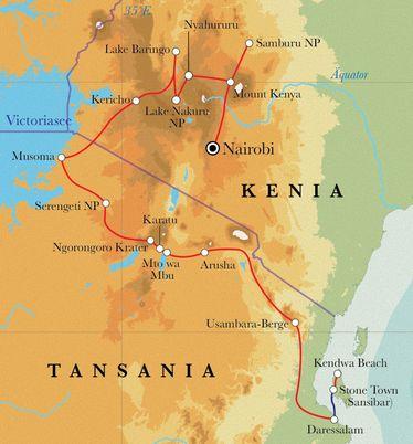 Route Rundreise Kenia, Tansania & Sansibar, 21/22 Tage Zeltsafari