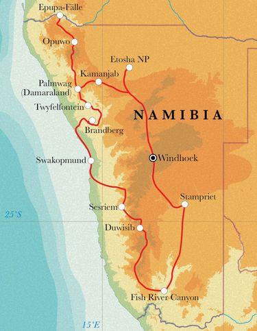 Route Rundreise Namibia, 22 Tage Zeltsafari