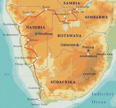 Route Rundreise Südafrika, Namibia, Botswana & Simbabwe, 24 Tage Zeltsafari
