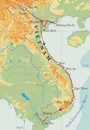 Route Rundreise Vietnam, 22 Tage