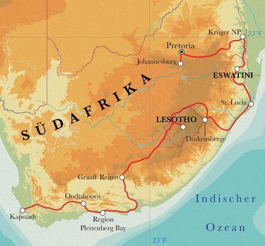 Route Rundreise Südafrika, Lesotho & Eswatini (Swasiland), 22 Tage