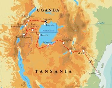 Route Rundreise Uganda, Tansania & Sansibar, 23 Tage
