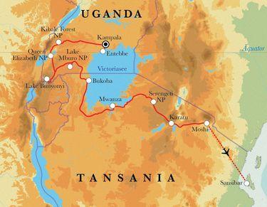 Route Rundreise Uganda, Tansania & Sansibar, 22 Tage