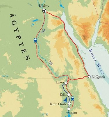 Route Rundreise Ägypten, 14 Tage