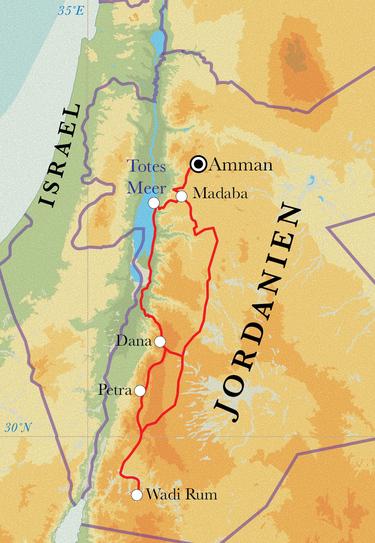 Route Jordanien, 9 Tage Wanderreise