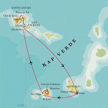 Route Kapverdische Inseln, 13 Tage Wanderreise