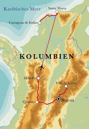 Route Rundreise Kolumbien, 14 Tage