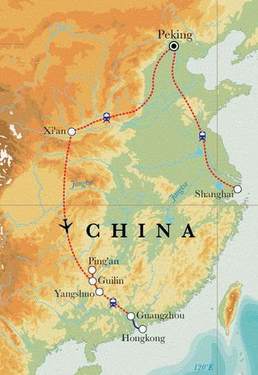Route Rundreise China, 18 Tage