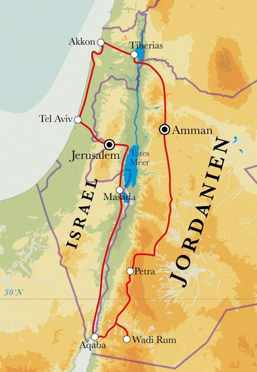 Route Rundreise Israel & Jordanien, 15 Tage