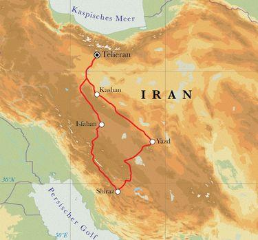 Route Rundreise Iran, 10 Tage
